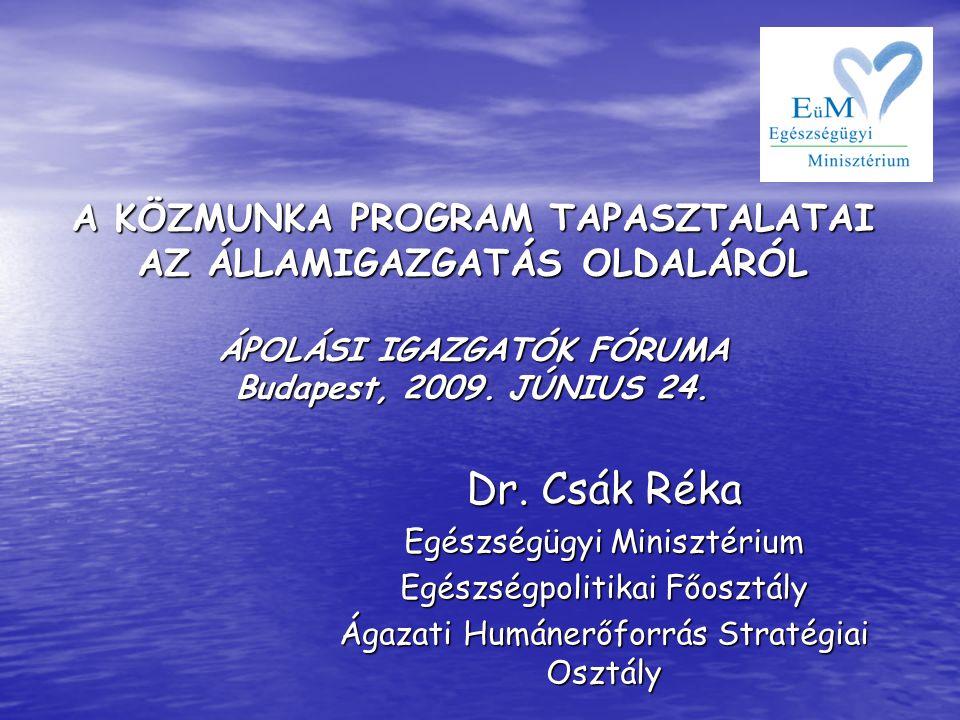 A KÖZMUNKA PROGRAM TAPASZTALATAI AZ ÁLLAMIGAZGATÁS OLDALÁRÓL ÁPOLÁSI IGAZGATÓK FÓRUMA Budapest, 2009. JÚNIUS 24.