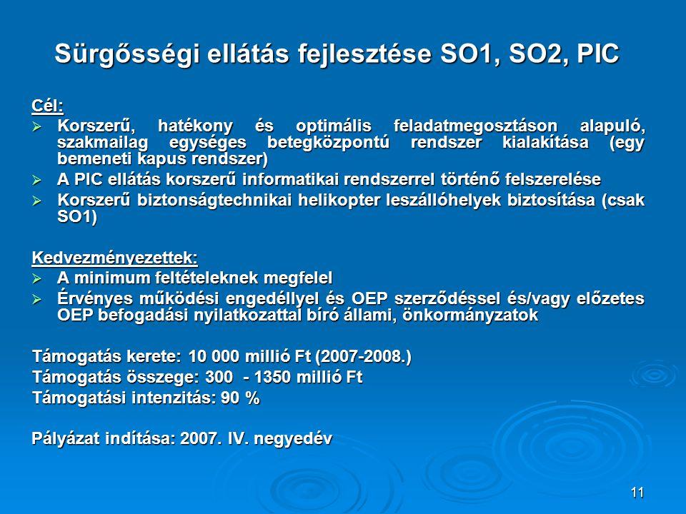 Sürgősségi ellátás fejlesztése SO1, SO2, PIC