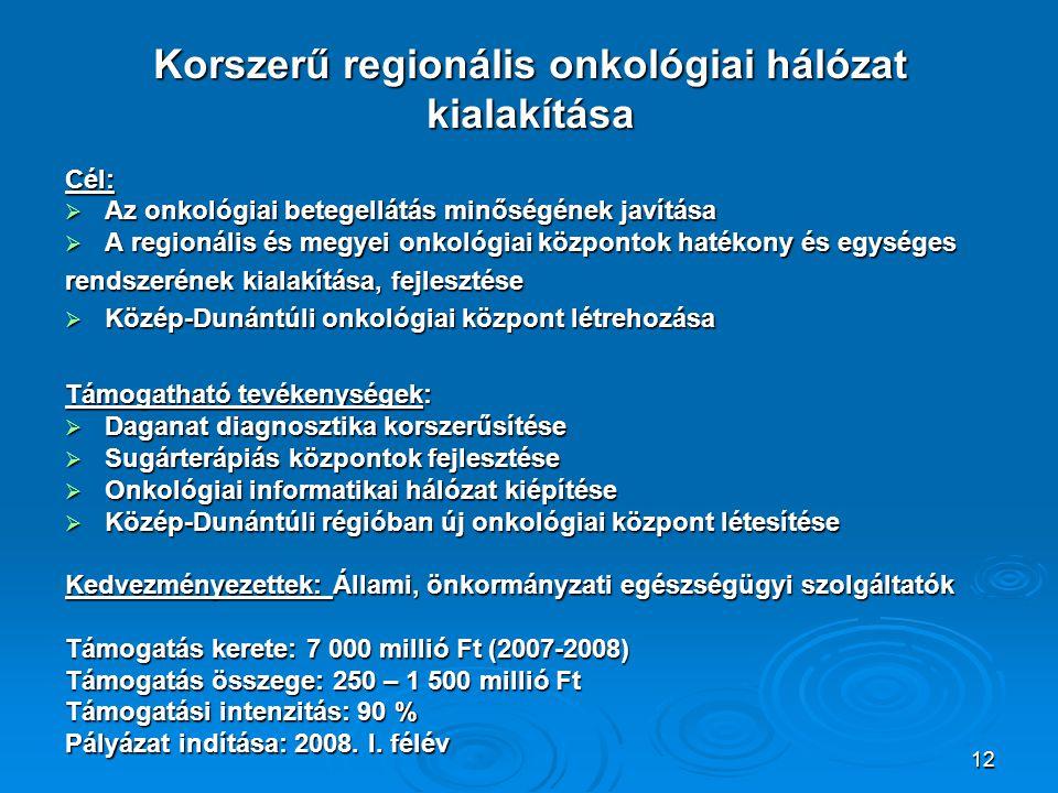 Korszerű regionális onkológiai hálózat kialakítása