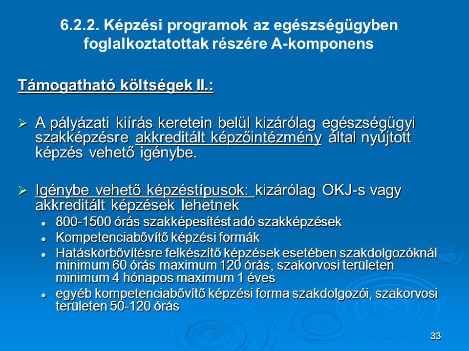 Támogatható költségek II.: