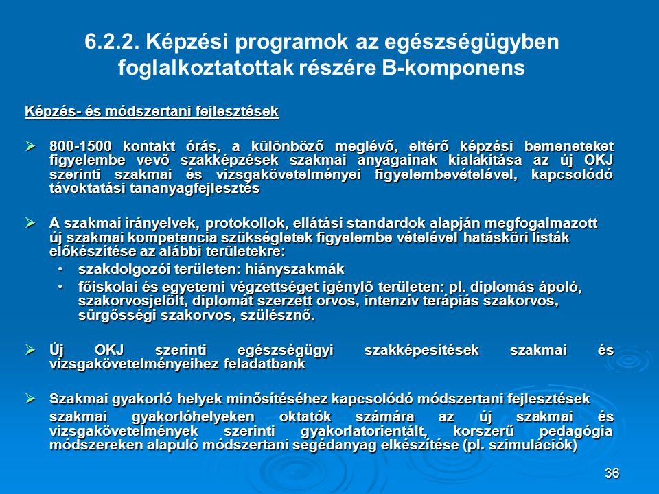 6.2.2. Képzési programok az egészségügyben foglalkoztatottak részére B-komponens