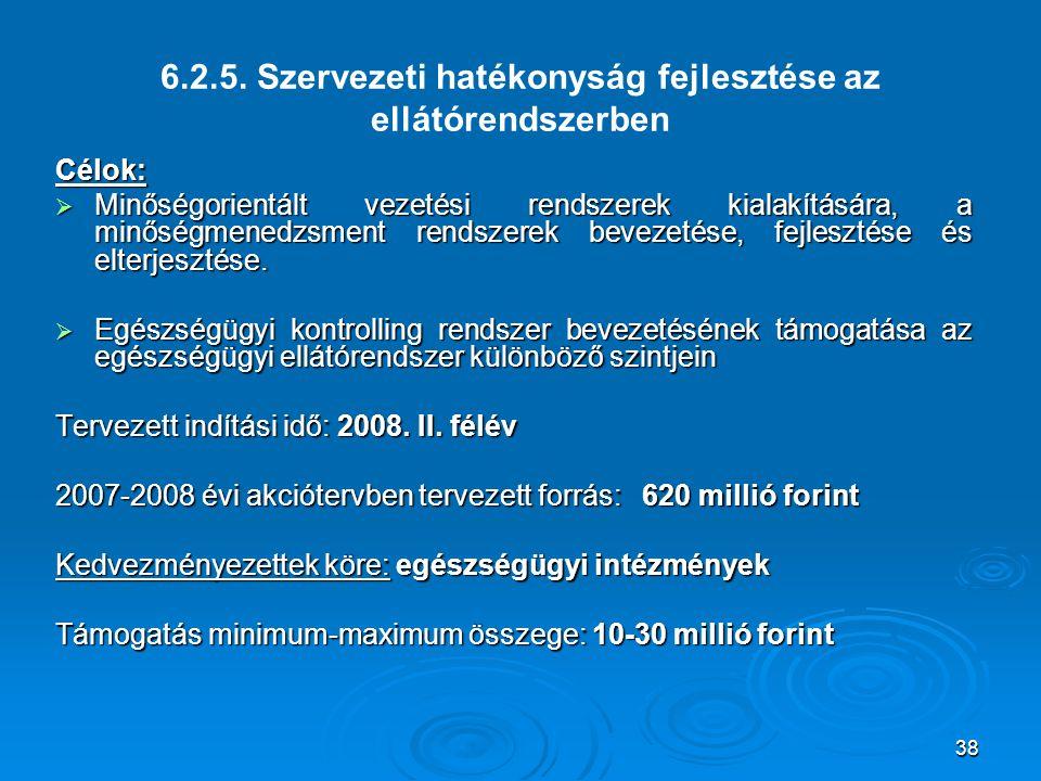 6.2.5. Szervezeti hatékonyság fejlesztése az ellátórendszerben