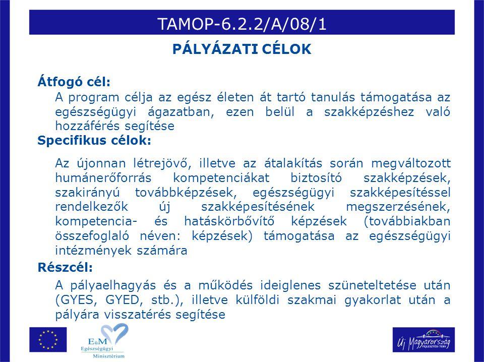 TAMOP-6.2.2/A/08/1 PÁLYÁZATI CÉLOK Átfogó cél: Specifikus célok: