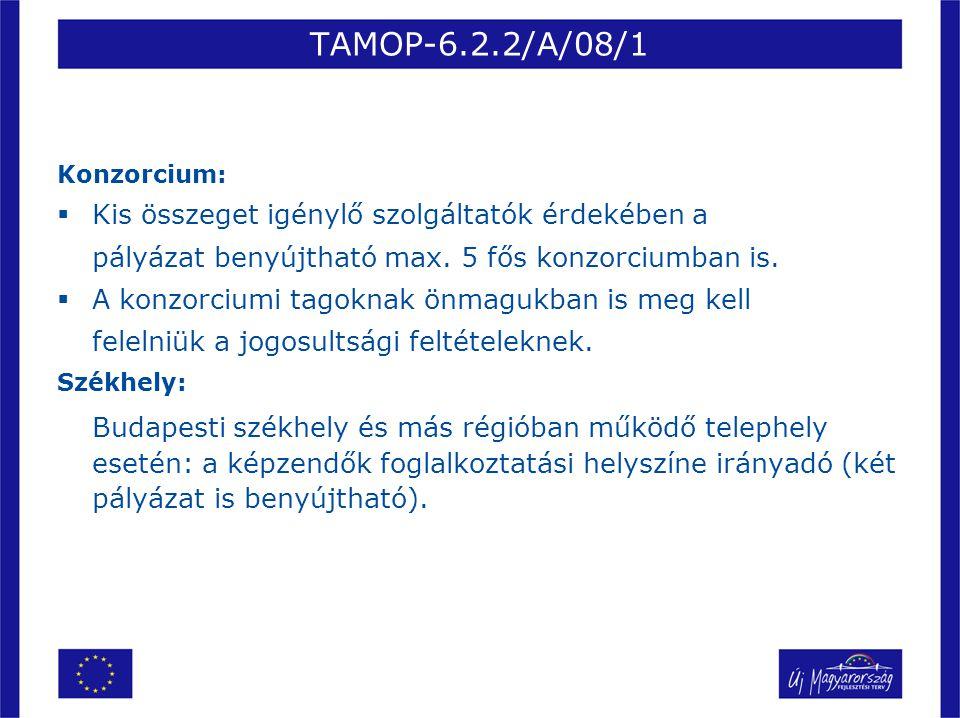 TAMOP-6.2.2/A/08/1 Konzorcium: Kis összeget igénylő szolgáltatók érdekében a. pályázat benyújtható max. 5 fős konzorciumban is.