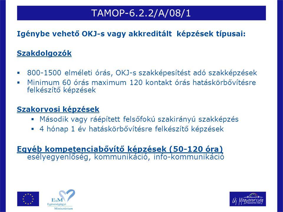 TAMOP-6.2.2/A/08/1 Igénybe vehető OKJ-s vagy akkreditált képzések típusai: Szakdolgozók.