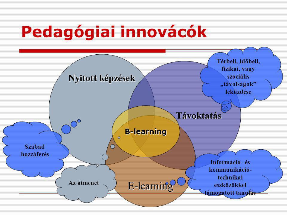 Pedagógiai innovácók E-learning Nyitott képzések Távoktatás B-learning