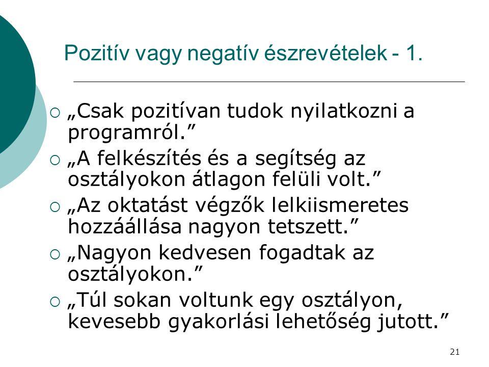 Pozitív vagy negatív észrevételek - 1.