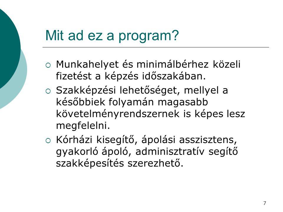 Mit ad ez a program Munkahelyet és minimálbérhez közeli fizetést a képzés időszakában.