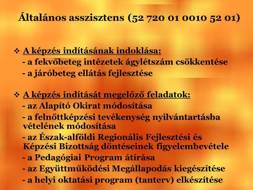Általános asszisztens (52 720 01 0010 52 01)