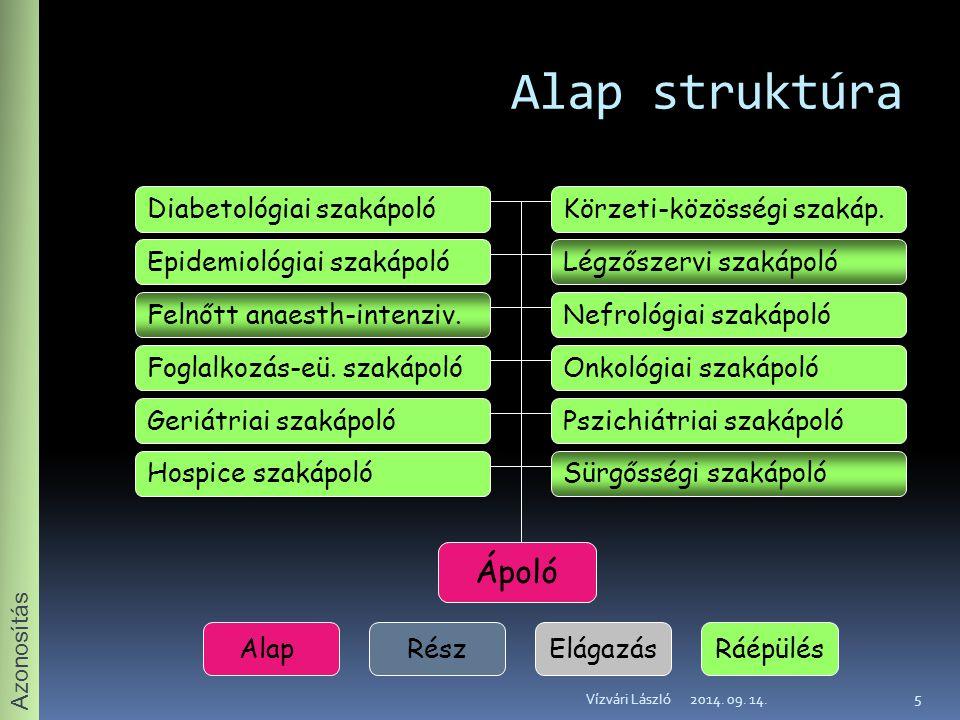 Alap struktúra Ápoló Diabetológiai szakápoló Körzeti-közösségi szakáp.