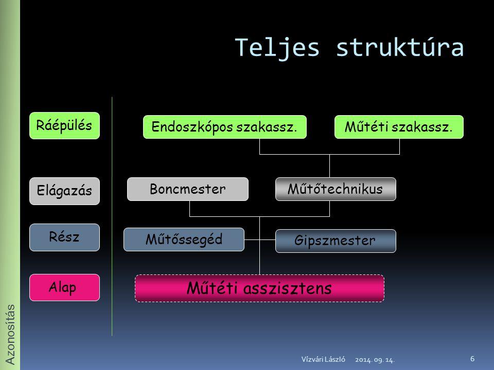 Teljes struktúra Műtéti asszisztens Ráépülés Endoszkópos szakassz.