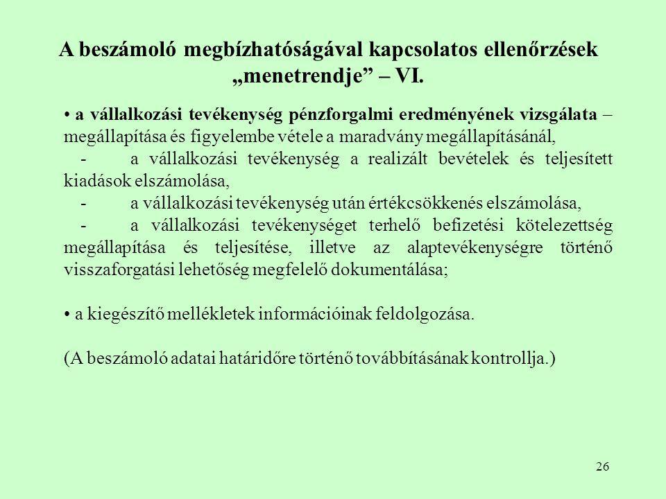 """A beszámoló megbízhatóságával kapcsolatos ellenőrzések """"menetrendje – VI."""