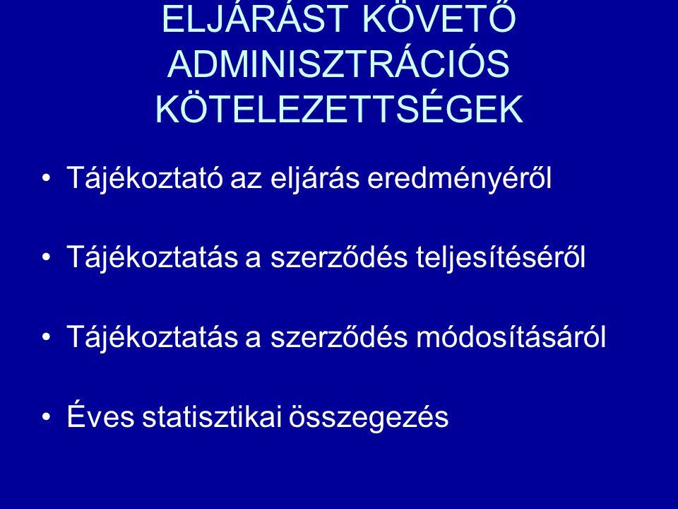 ELJÁRÁST KÖVETŐ ADMINISZTRÁCIÓS KÖTELEZETTSÉGEK