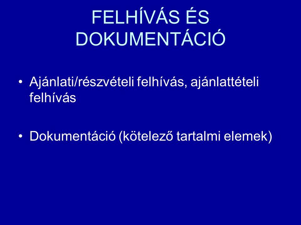 FELHÍVÁS ÉS DOKUMENTÁCIÓ