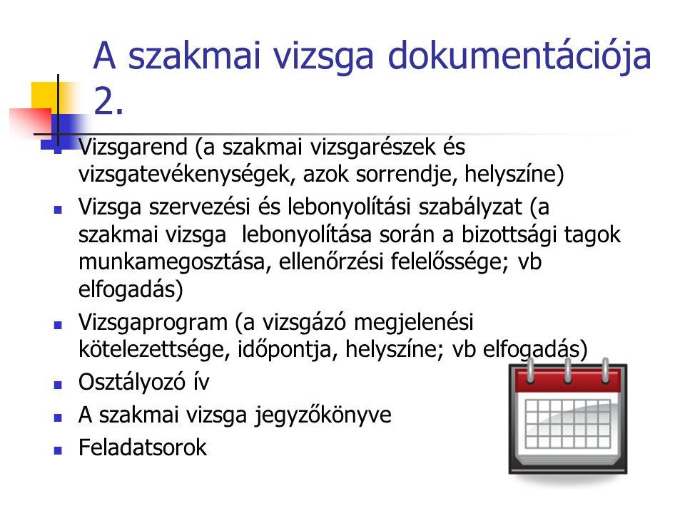 A szakmai vizsga dokumentációja 2.