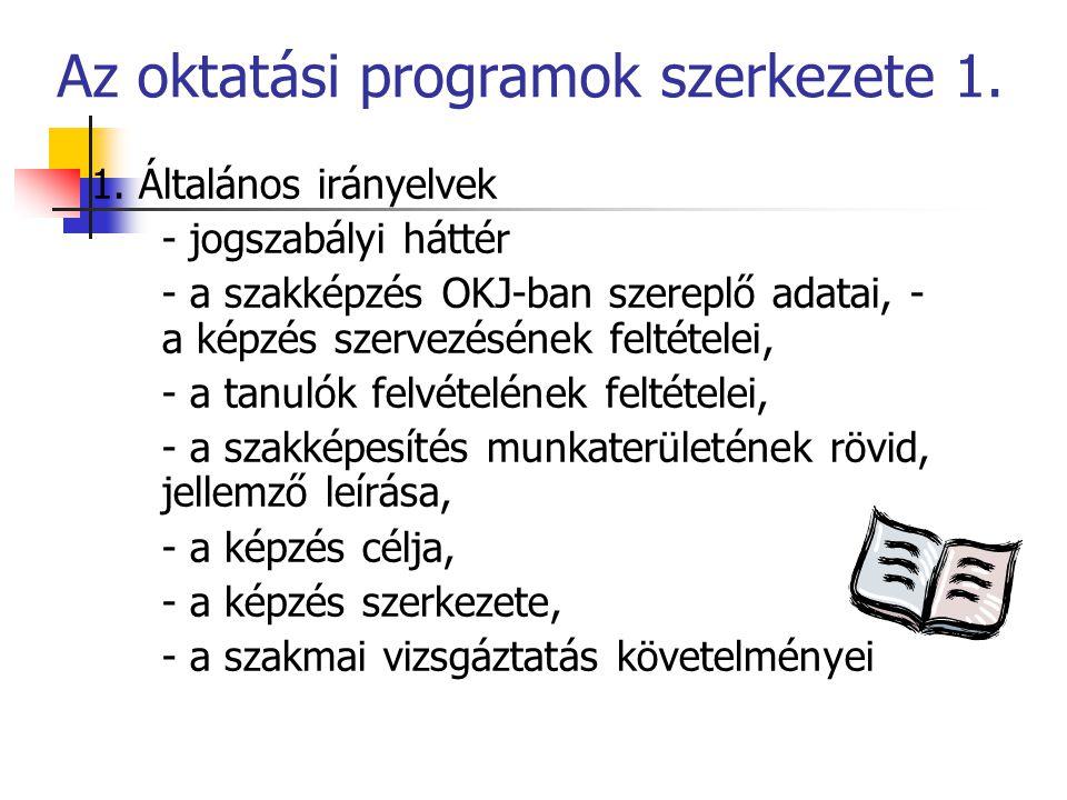 Az oktatási programok szerkezete 1.