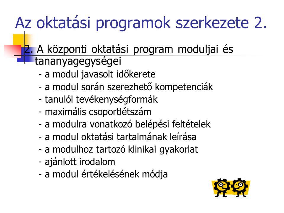Az oktatási programok szerkezete 2.