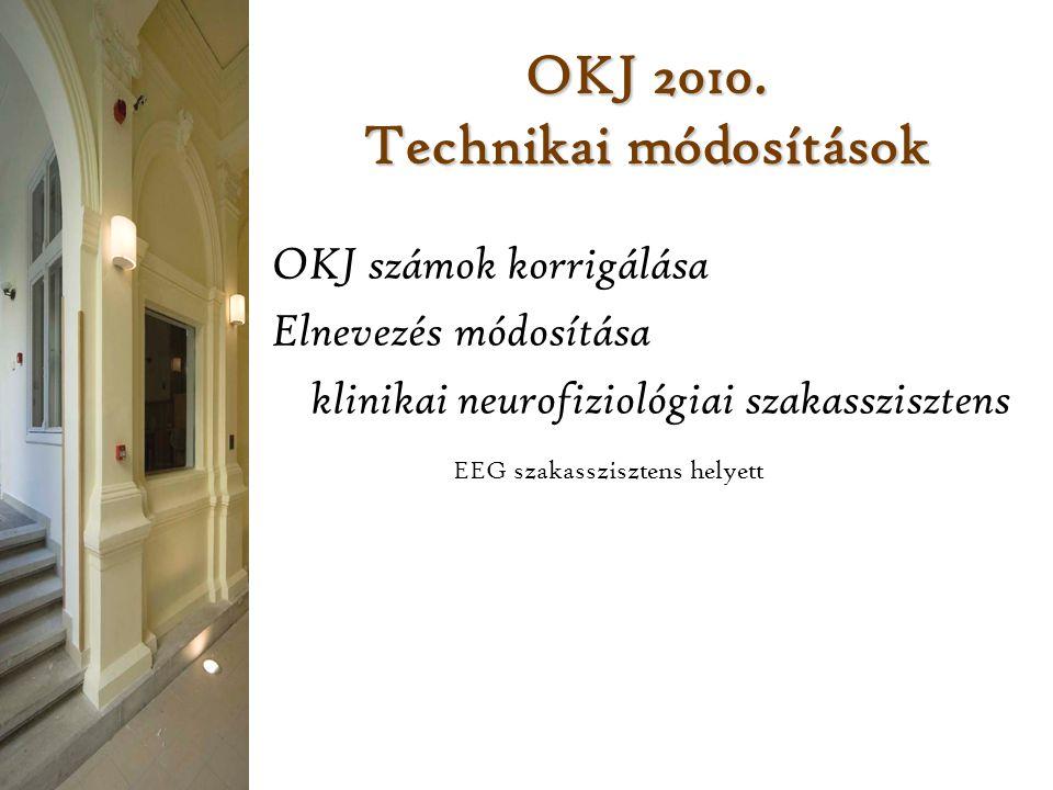 OKJ 2010. Technikai módosítások