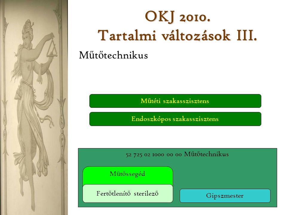 OKJ 2010. Tartalmi változások III.