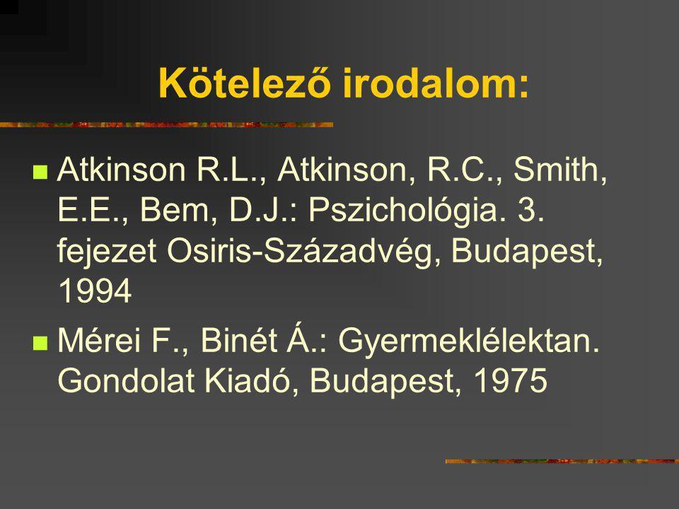 Kötelező irodalom: Atkinson R.L., Atkinson, R.C., Smith, E.E., Bem, D.J.: Pszichológia. 3. fejezet Osiris-Századvég, Budapest, 1994.