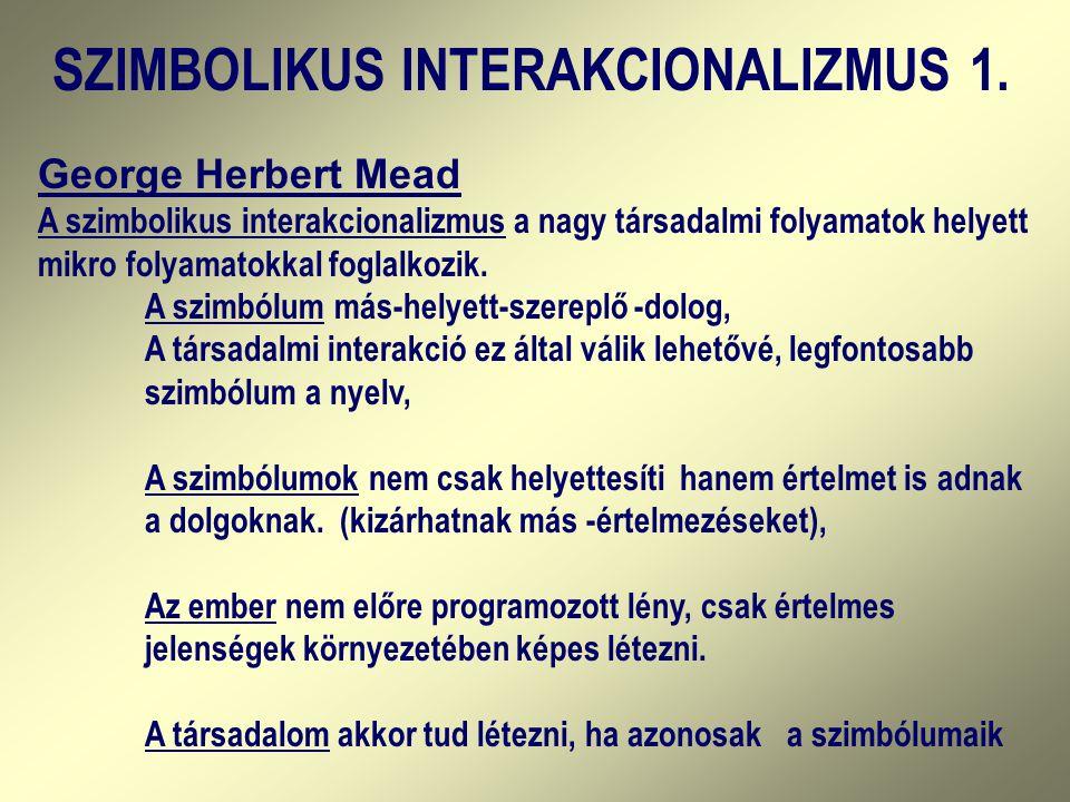 SZIMBOLIKUS INTERAKCIONALIZMUS 1.