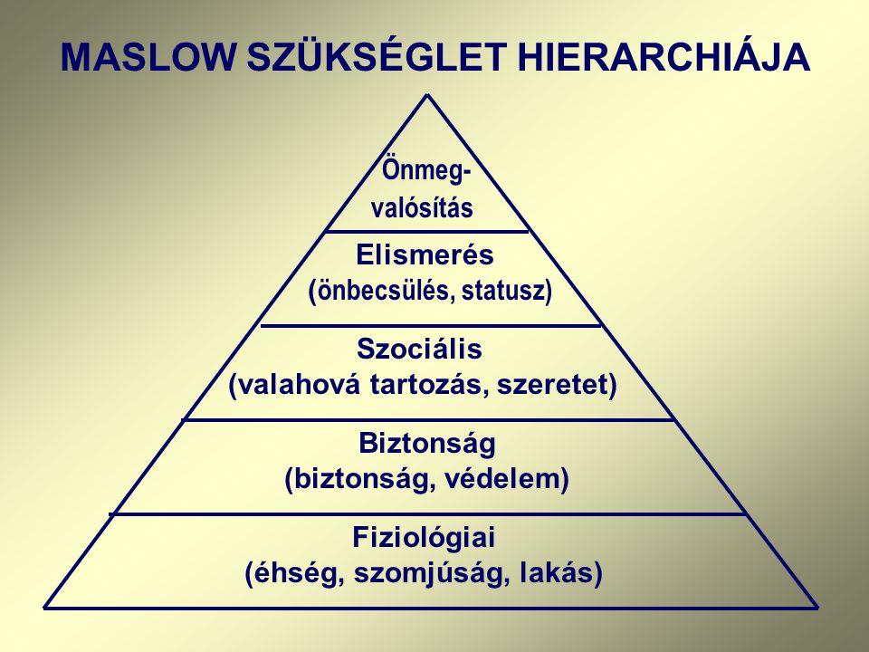 Biztonság (biztonság, védelem) Fiziológiai (éhség, szomjúság, lakás)