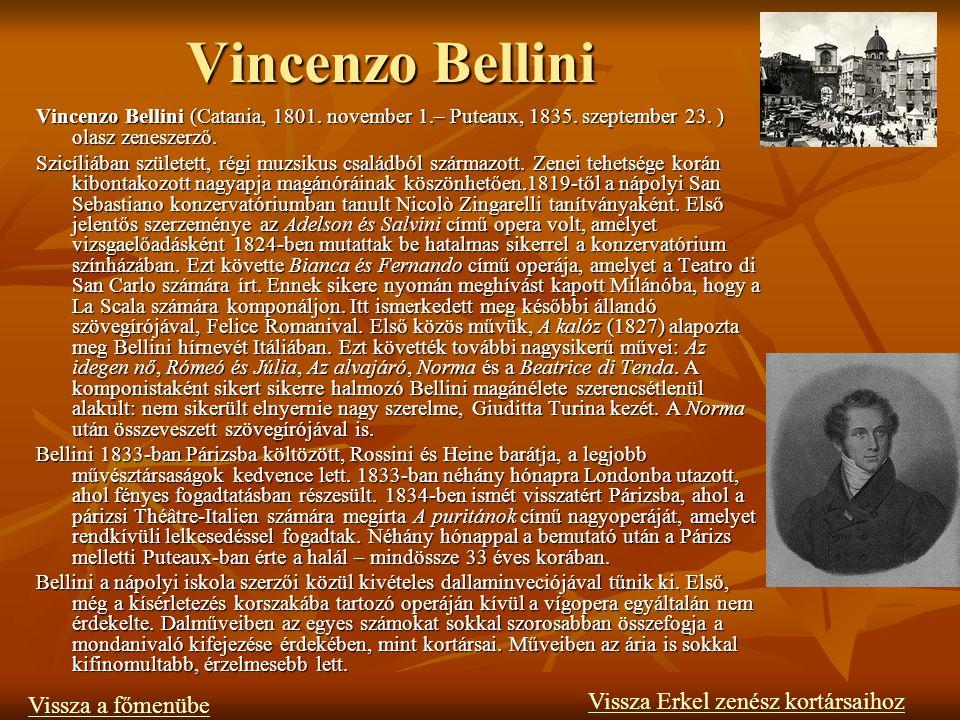 Vincenzo Bellini Vissza Erkel zenész kortársaihoz Vissza a főmenübe