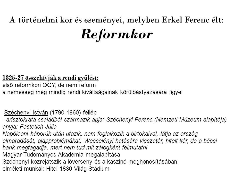 A történelmi kor és eseményei, melyben Erkel Ferenc élt: