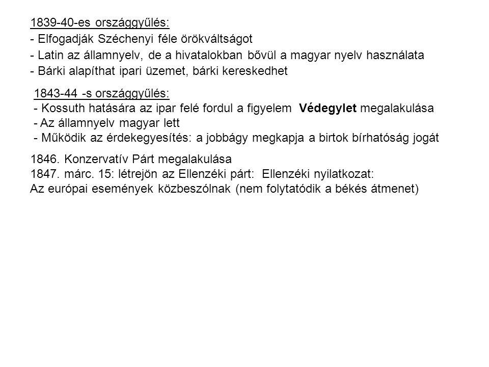 1839-40-es országgyűlés: - Elfogadják Széchenyi féle örökváltságot. - Latin az államnyelv, de a hivatalokban bővül a magyar nyelv használata.