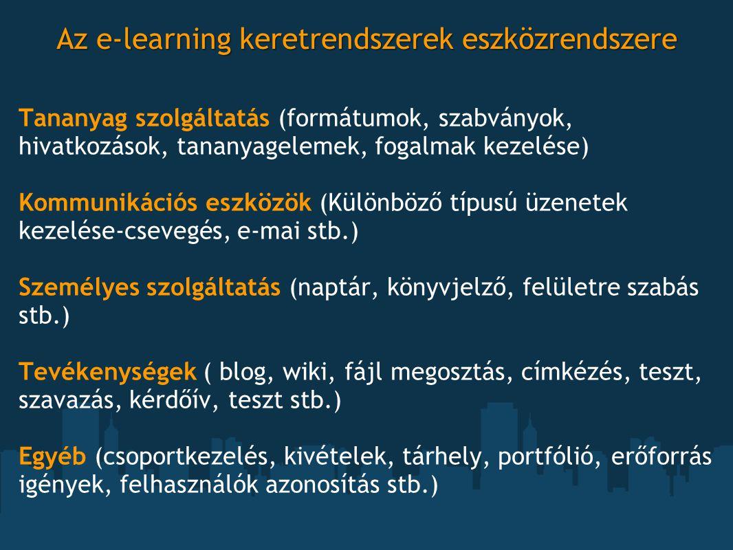 Az e-learning keretrendszerek eszközrendszere