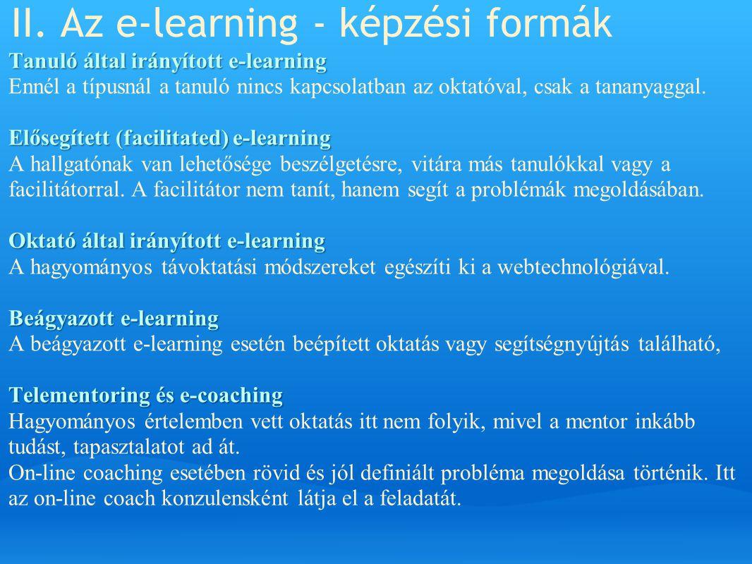 II. Az e-learning - képzési formák
