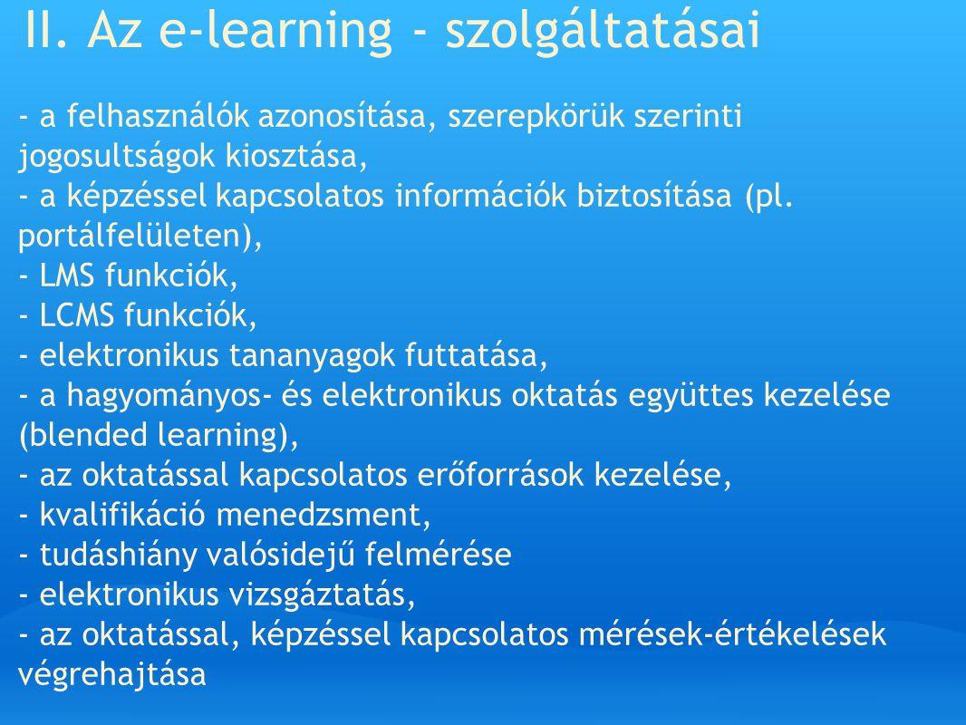 II. Az e-learning - szolgáltatásai