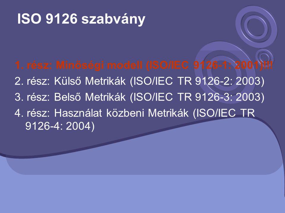 ISO 9126 szabvány 1. rész: Minőségi modell (ISO/IEC 9126-1: 2001)!!!
