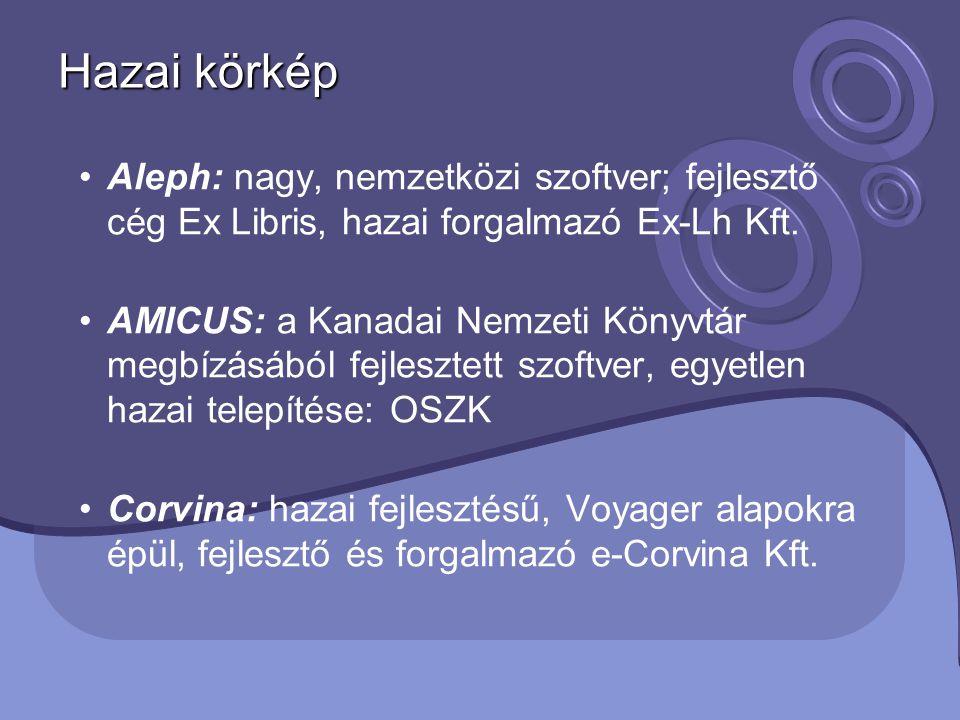 Hazai körkép Aleph: nagy, nemzetközi szoftver; fejlesztő cég Ex Libris, hazai forgalmazó Ex-Lh Kft.
