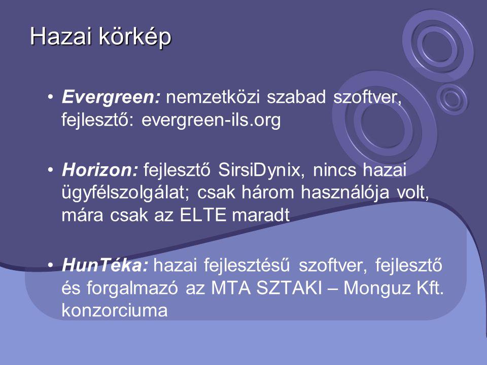 Hazai körkép Evergreen: nemzetközi szabad szoftver, fejlesztő: evergreen-ils.org.