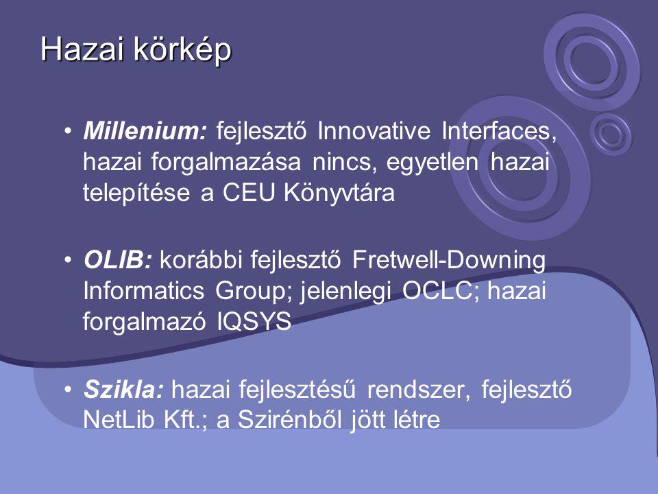 Hazai körkép Millenium: fejlesztő Innovative Interfaces, hazai forgalmazása nincs, egyetlen hazai telepítése a CEU Könyvtára.