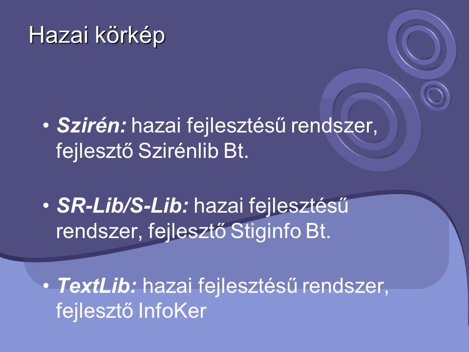 Hazai körkép Szirén: hazai fejlesztésű rendszer, fejlesztő Szirénlib Bt. SR-Lib/S-Lib: hazai fejlesztésű rendszer, fejlesztő Stiginfo Bt.