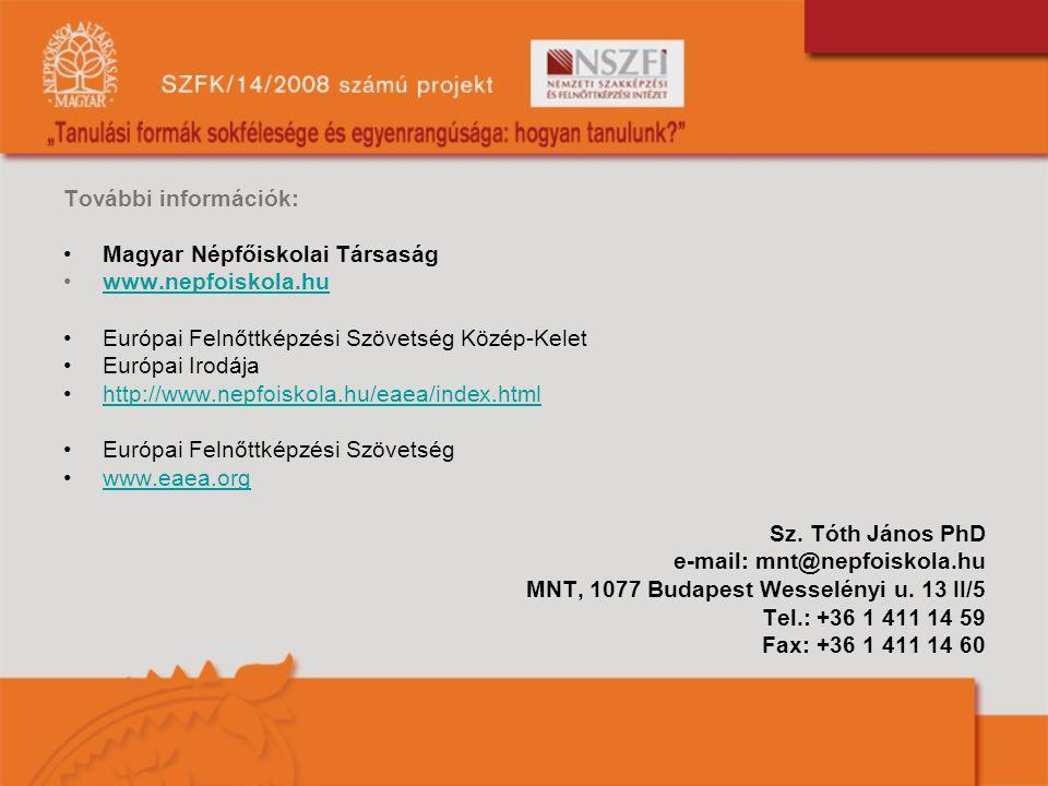 További információk: Magyar Népfőiskolai Társaság. www.nepfoiskola.hu. Európai Felnőttképzési Szövetség Közép-Kelet.