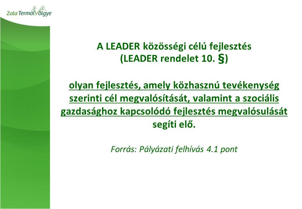 A LEADER közösségi célú fejlesztés (LEADER rendelet 10