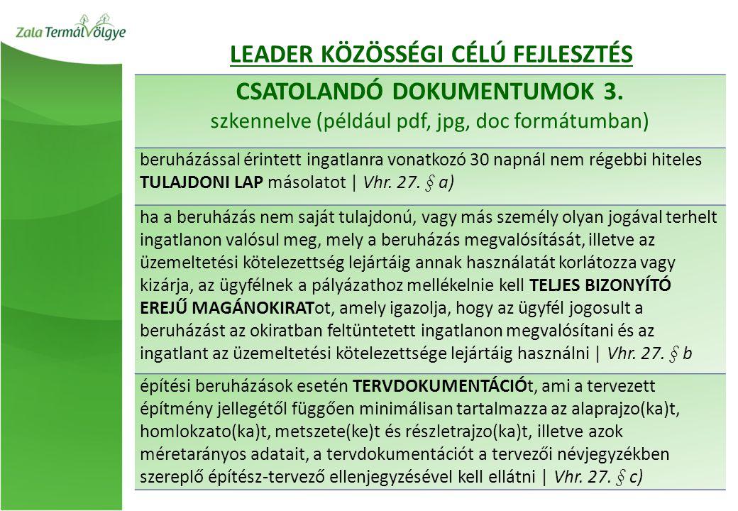 LEADER KÖZÖSSÉGI CÉLÚ FEJLESZTÉS