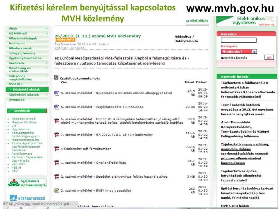 Kifizetési kérelem benyújtással kapcsolatos MVH közlemény