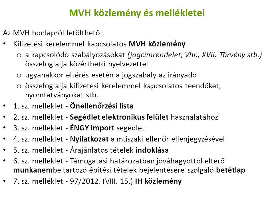 MVH közlemény és mellékletei