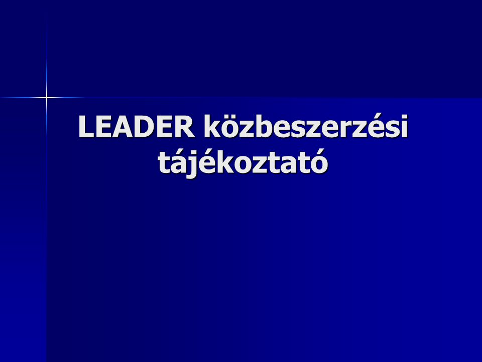 LEADER közbeszerzési tájékoztató