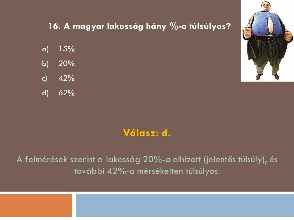 16. A magyar lakosság hány %-a túlsúlyos