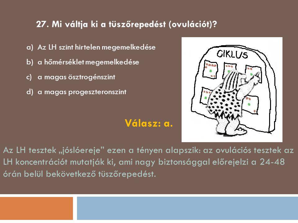 27. Mi váltja ki a tüszőrepedést (ovulációt)