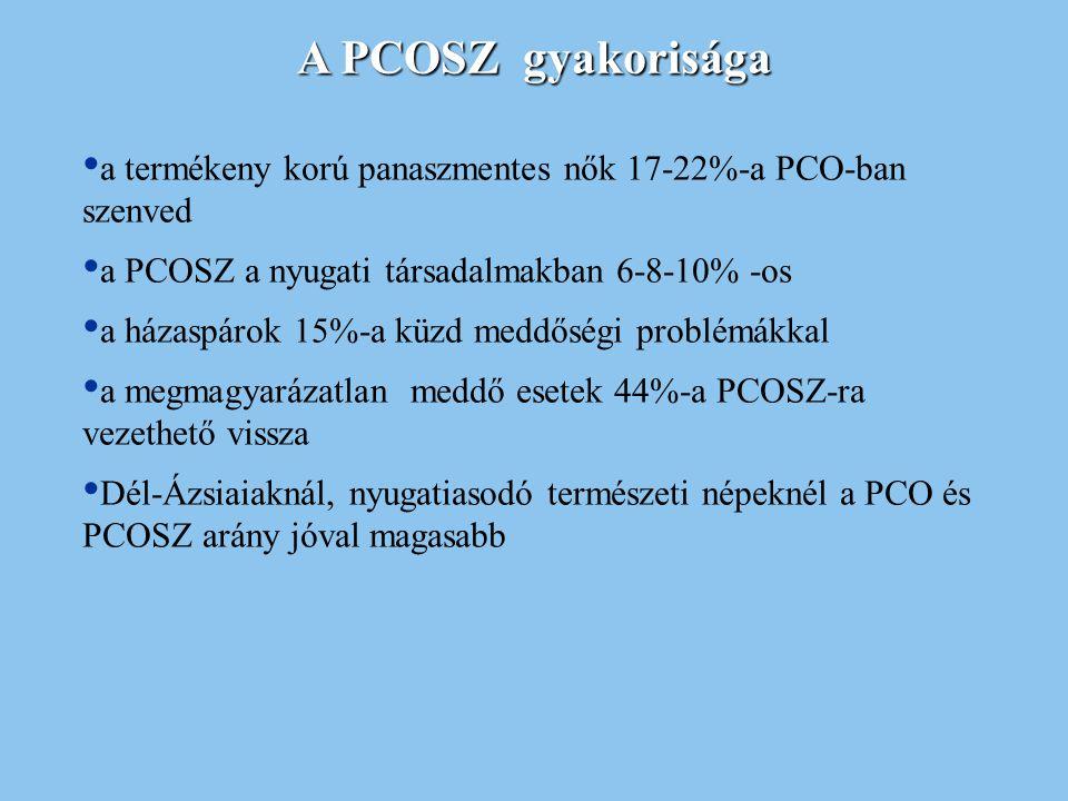 A PCOSZ gyakorisága a termékeny korú panaszmentes nők 17-22%-a PCO-ban szenved. a PCOSZ a nyugati társadalmakban 6-8-10% -os.