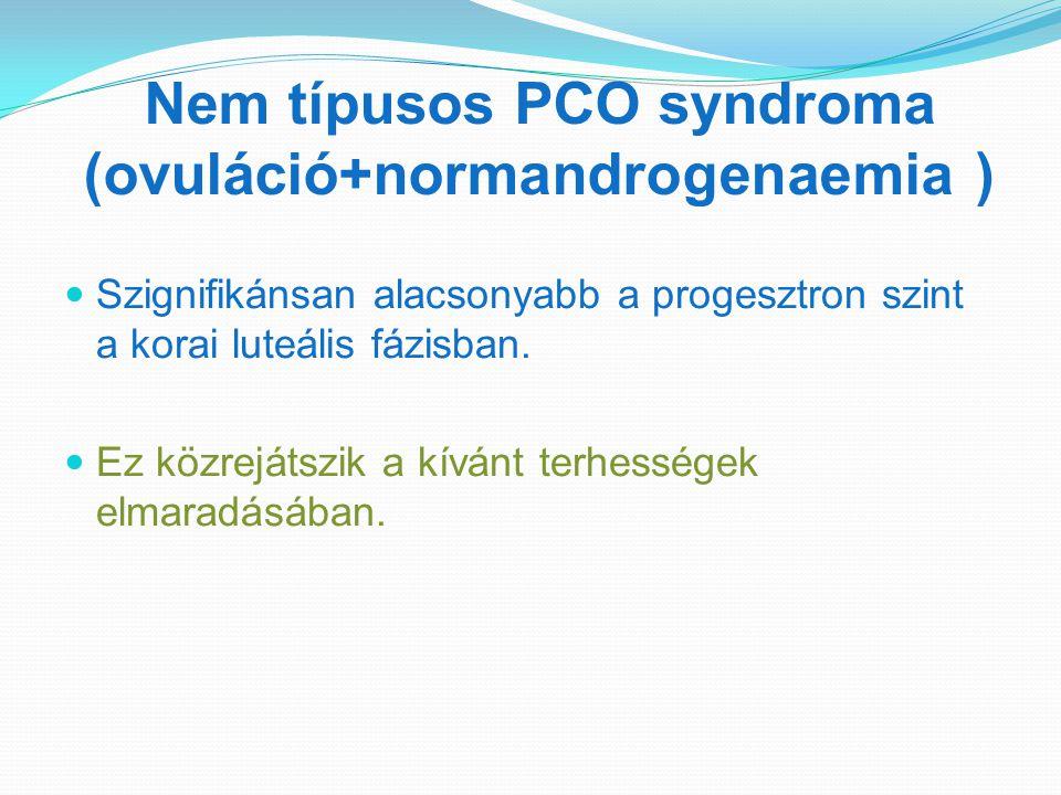 Nem típusos PCO syndroma (ovuláció+normandrogenaemia )