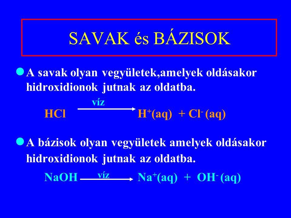 SAVAK és BÁZISOK A savak olyan vegyületek,amelyek oldásakor hidroxidionok jutnak az oldatba. víz. HCl H+(aq) + Cl- (aq)