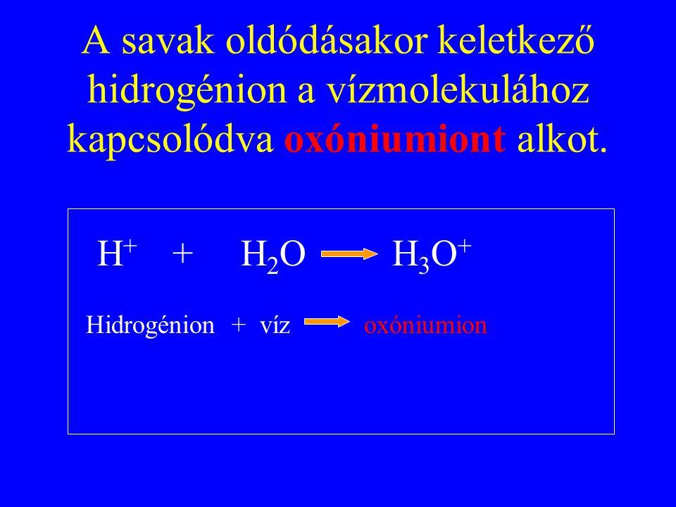 A savak oldódásakor keletkező hidrogénion a vízmolekulához kapcsolódva oxóniumiont alkot.