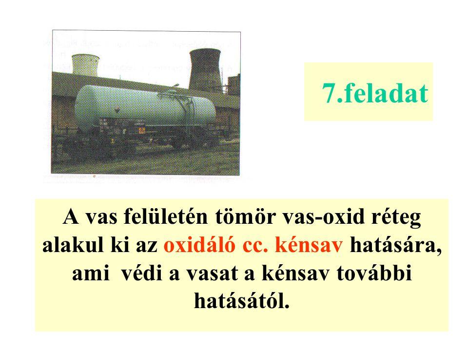 7.feladat A vas felületén tömör vas-oxid réteg alakul ki az oxidáló cc.